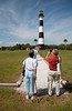 Visitors recording their day touring the historic light and entering the pathway of shells.
