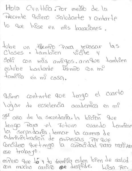 Letter from Luisa Fernanda, August 2016