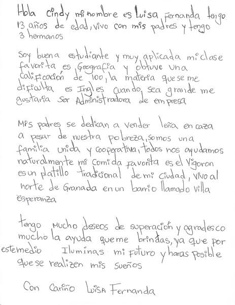 Letter by Luisa Fernanda April 2015