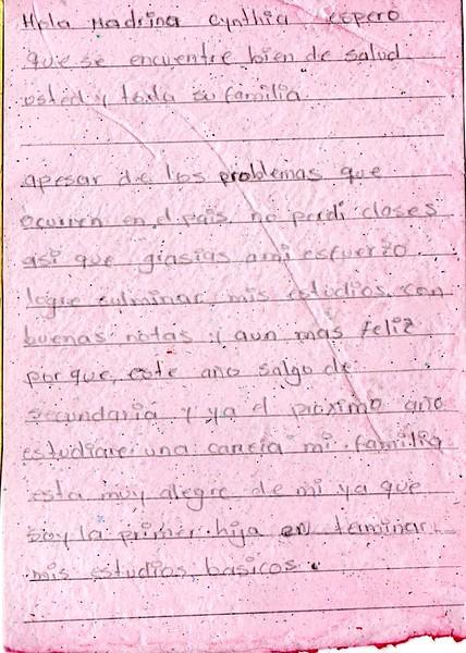Letter from Luisa Fernanda to Cinthya. December 2018.