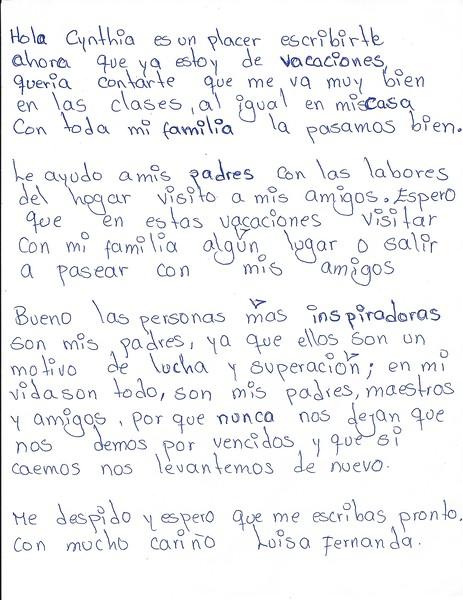 Letter from Luisa Fernanda (March 2016)