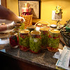 8 Qt. jars of Banana Peppers with a few slices of Jalapeno's in each jar.A Qt jar of Corno Di Tora, Italian Sweet Peppers,and  some Ancho San Martin Mexican Peppers mixed with Carribbean Reds. I have the Cayenne drying out in the Garage to grind up for Chili Seasoning. The tabasco Peppers we canned separately.