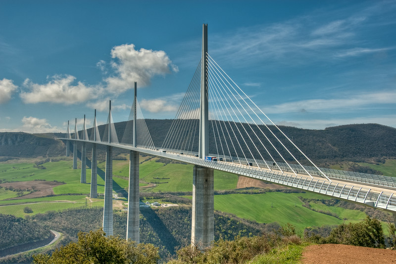 Millau Viaduct, Tarn Valley, France  - 16x24, metallic canvas, $195