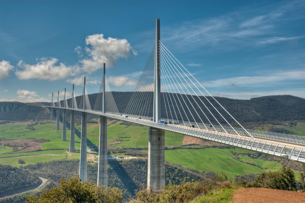 Millau Viaduct, Tarn Valley, France  - 16x24, metallic canvas, $195