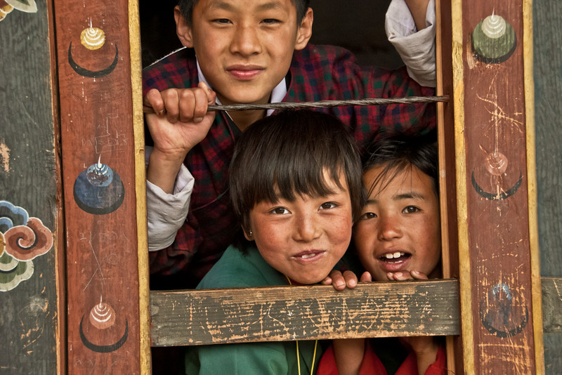 Students, Chuzomsa, Bhutan 2010 - 12x18, $145
