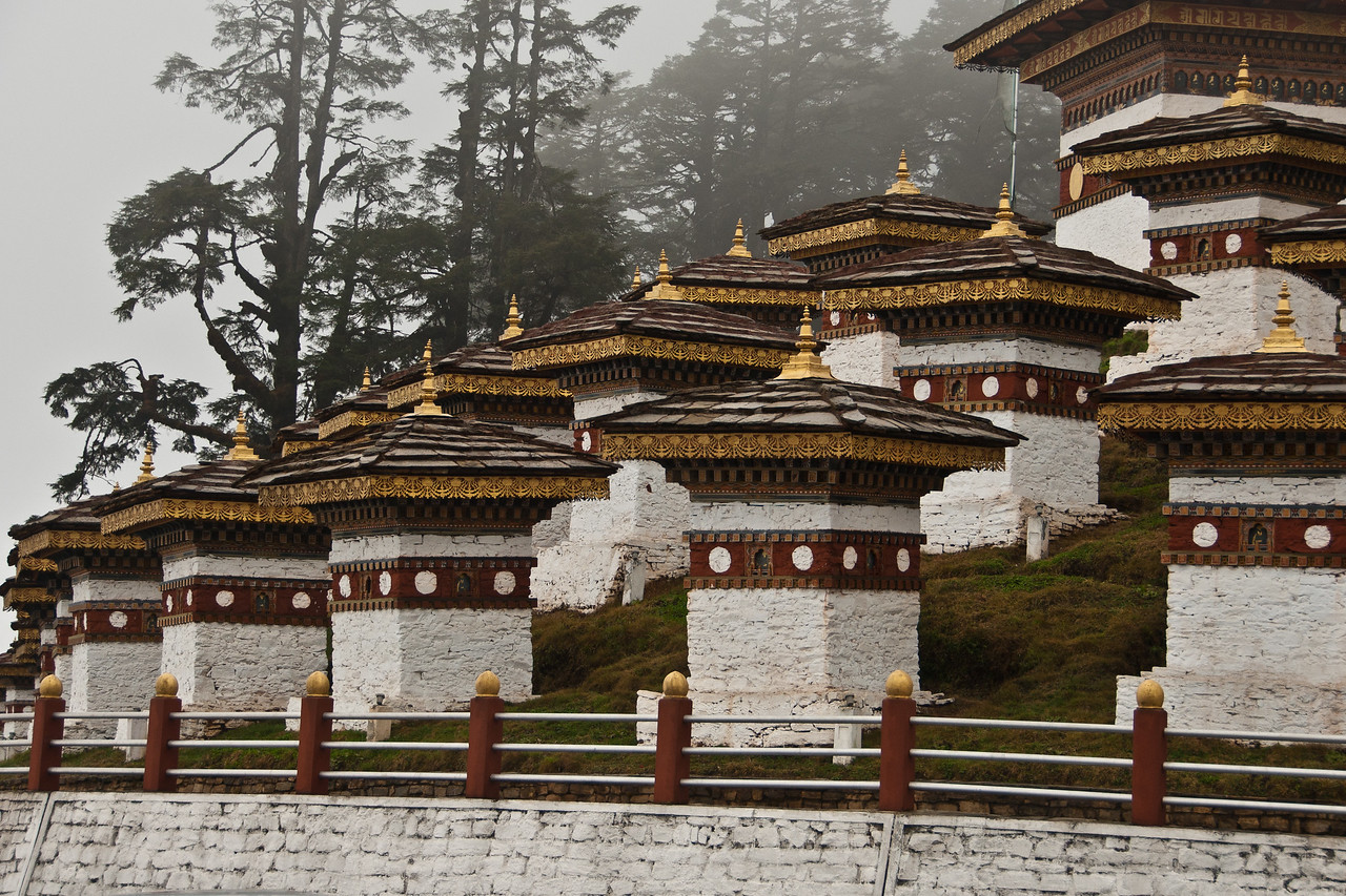 Dochu-La pass (10,300 feet).  Adorned with countless prayer flags and a series of 108 chortens (solid earthen devotional mounds, often containing sacred relics).  Bhutan 12x18, $145
