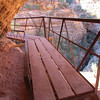 This part may give people problems if they have a fear of exposed areas even with the railing.  The wooden walkway hangs over the small canyon.