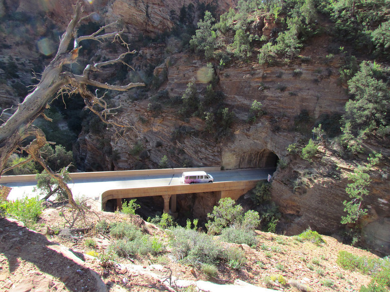 Zion-Mount Carmel Tunnel.  Opened in 1930, it's 1.1 miles long.