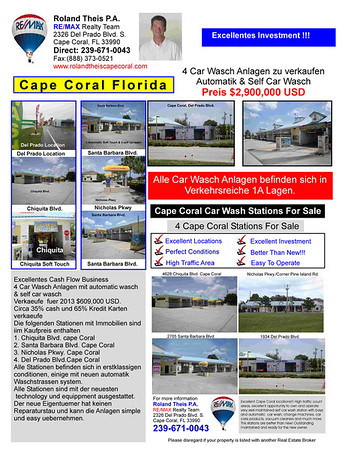 Cape Coral Business For Sale, Presented by Roland Theis P.A. Cape Coral, Florida Car Wash For sale