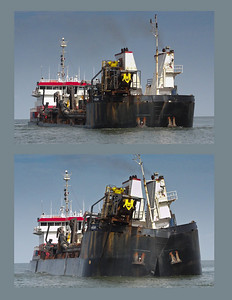HOPPER DREDGE RN WEEKS, RELEASING SEDIMENT Offshore, West of Venice, Louisiana, 2010