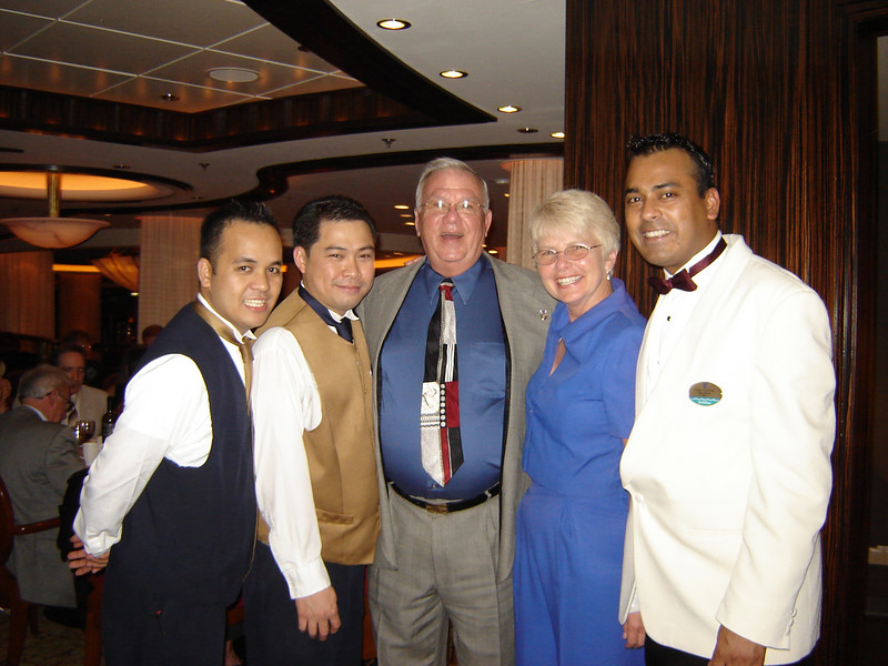 "Our Dinning Friends <br /> The General, Anthony, Me and Kay and VJ Dinning about the ""Serenade of the Seas"""