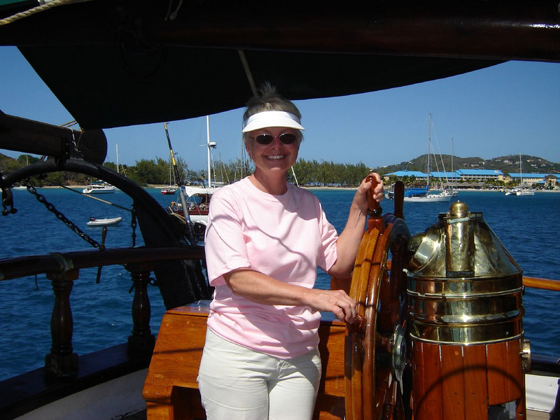 """Caribbean Cruise  Kay at the Helm of the """"Brig Unicorn"""""""