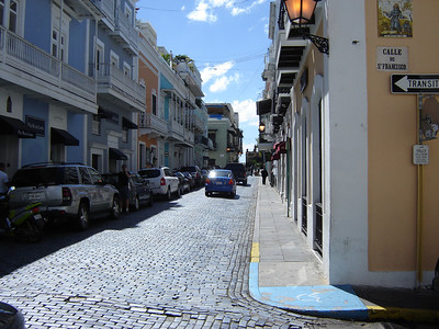 Streets of Old San Juan  Blue colored street pavers