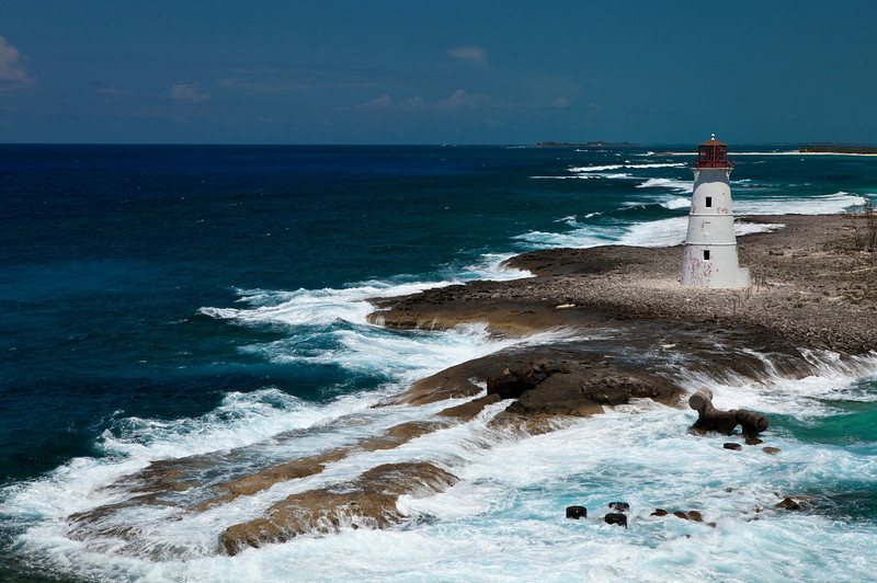 Hog Island Lighthouse. Build in 1817 on the western top of Paradise Island in Nassau, Bahamas.