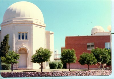 Domes of the instruments at Steward Observatory on the University of Arizona Campus. The 21 inch reflector resides in the large dome on the left. Stewart Observatory has been active since the 1920's.