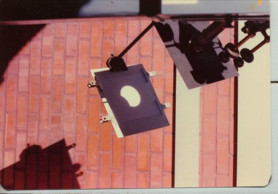 Solar eclipse as viewed by our group while I worked at Steward Obs, in 1977. Telescope is the 4 inch Alvin Clark refractor.