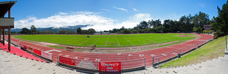 Panorama of the football field and track
