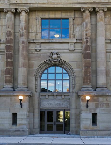 """Carnegie Library Facade 10/19/2010 (""""Public Library"""")"""