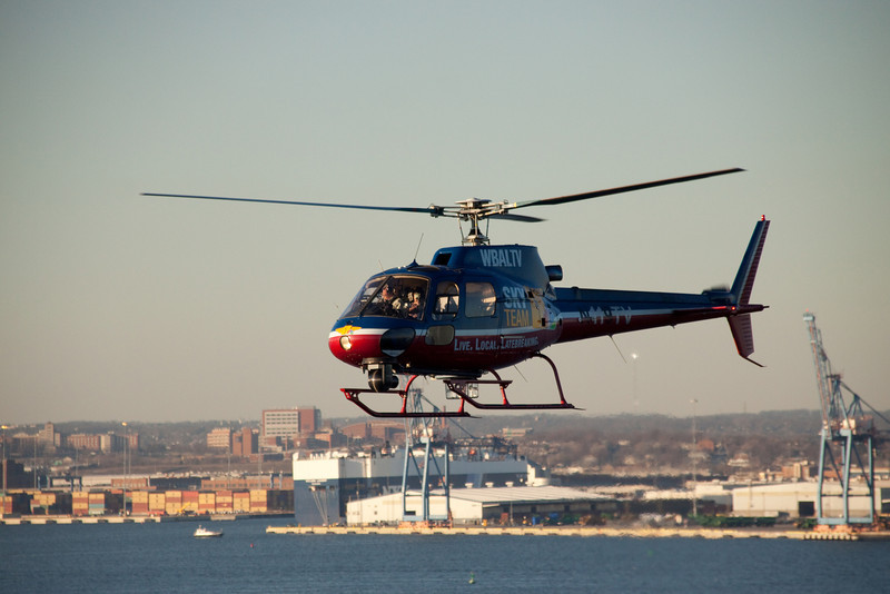 WBAL helicopter checking out Enchantment of the Seas leaving Baltimore.