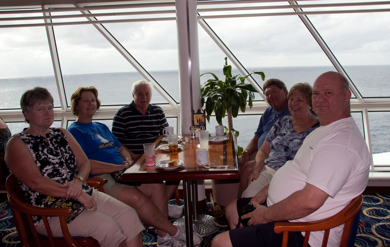Traveling companions minus a few in the windjammer enjoying afternoon refreshments.