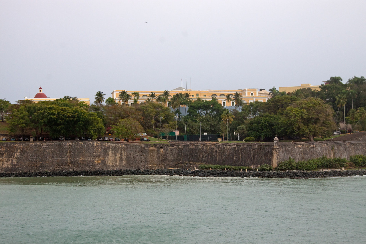 Along the harbor wall at San Juan.  You can see canon ports.