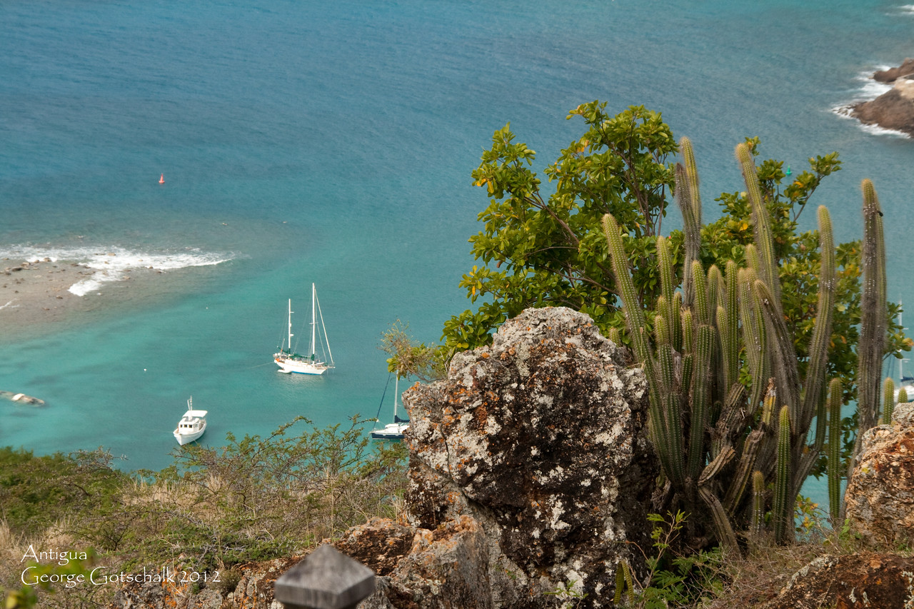 Looking down at the harbor entrance in Antigua.