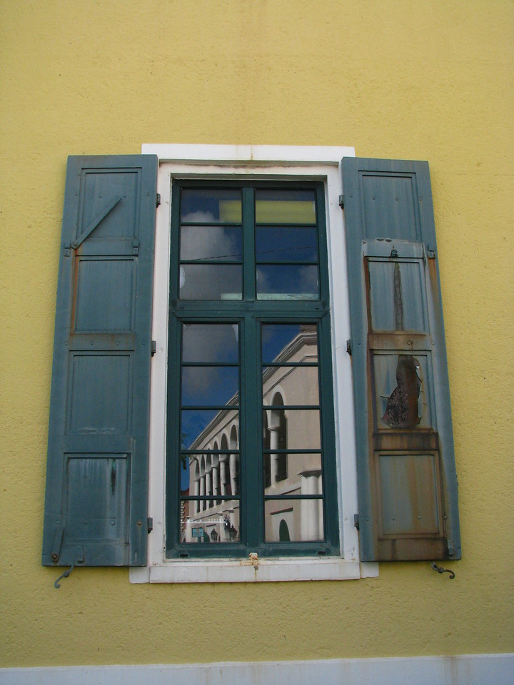 Old window with reflection