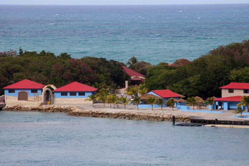 Thin strip of land separating ocean side and cove at Labadi Haiti.