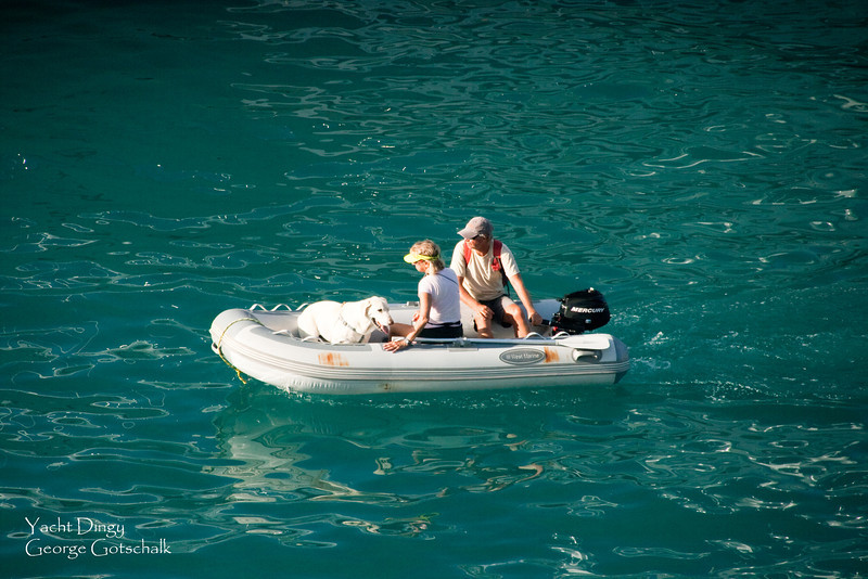 Taking the dingy back to the yacht in St. Thomas.