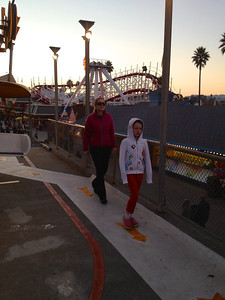 Mommy and Ava getting of the Gondola thing at the Santa Cruz Beach Boardwalk.