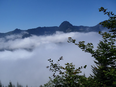 Climbing above the cloud layer. Ira Spring Trail, July 21, 2013.