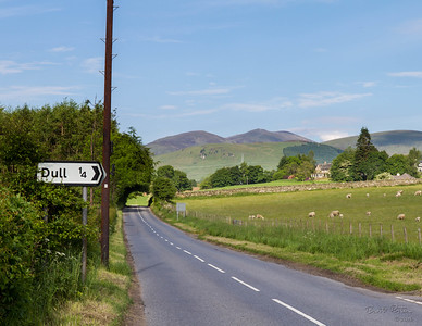 The town of Dull is not far from the castle.  This sign tickled my fancy, since the landscape is anything but dull!