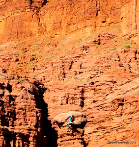 Climber, near Fisher Towers, Castle Valley, Utah.