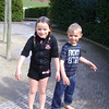 Ellen and Matthew soaking wet after being in the fountain at Alnwick Gardens
