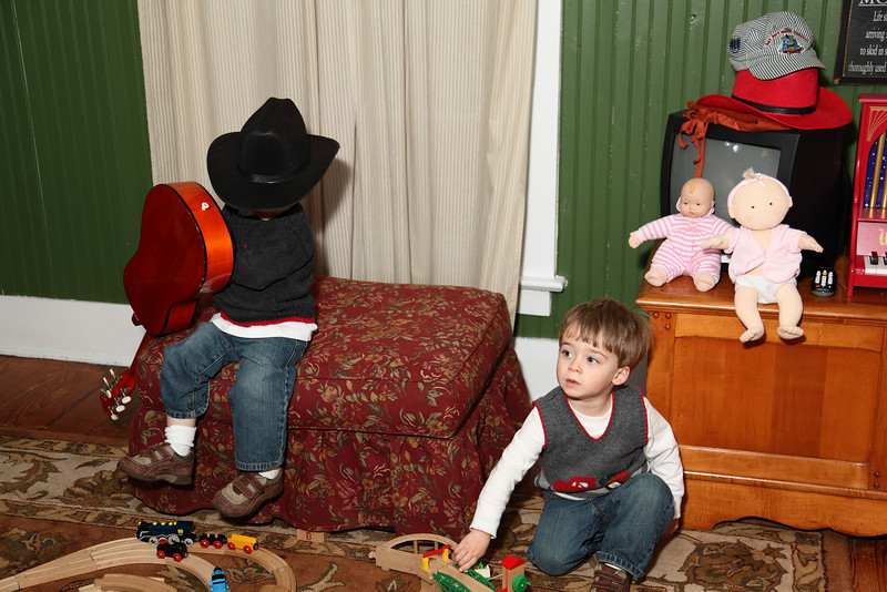 Liam on the Guitar and Sam with Evans Brio Trains.(Arron and Laurie's twins boys)