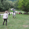 Tennis on horseback. Brian and Minty.