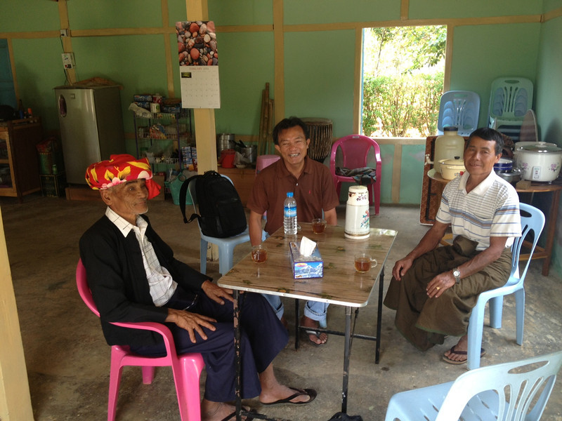 Johnny with the elders from our original village.