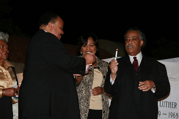 Lighting candles in celebration of OBAMA's nomination to the DEMOCRATIC convention party.<br /> <br /> <br /> Martin King, Bernice King, and Rev. Al Sharpton