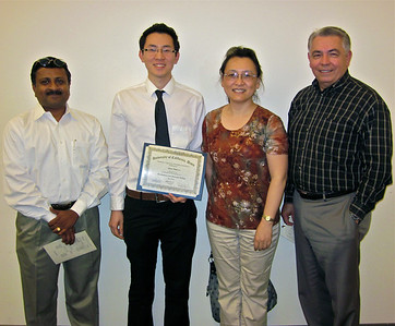 From left to right, Dr. Somen Nandi, Mr. Quoc Sinh Le, Dr. Liping Huang and Dr. Raymond Rodirguez.