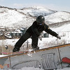 Chad Smith snowboading in the terrain park at Park City Mountain Resort. (Tom Kelly)