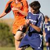 Zach Fedler heads the ball (nederland player  James Biddle)