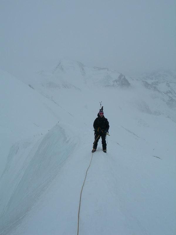 On top of the Breithorn, above Zermatt, opposite the Matterhorn.