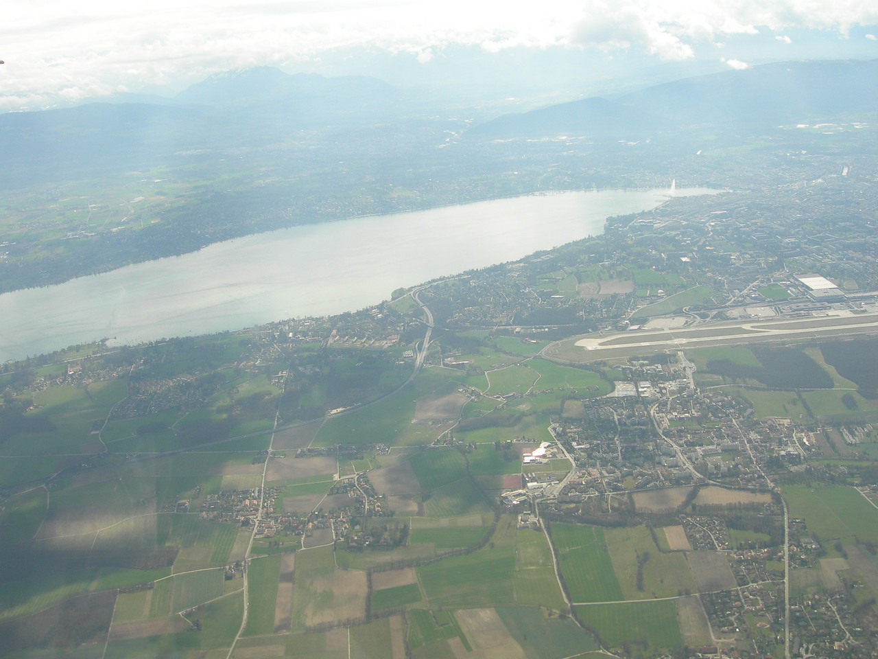 Lac Leman (Lake Geneva).  Jet D'eau (Fountain) at the far end (right) of the lake.