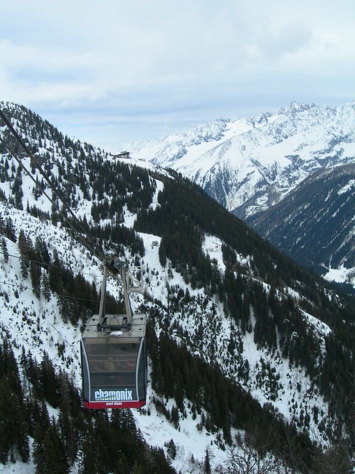 This tram runs between two major valleys on the Le Brevent Side (South) of Chamonix.