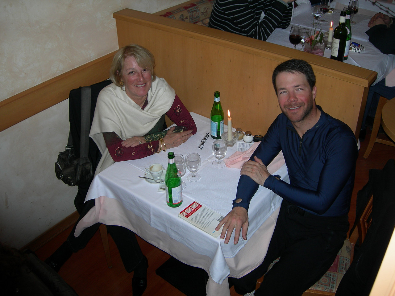 My aunt (Ariane Sulzer), my Dad's sister and I at a restaurant in Lausanne, home of the Olympic Museum and International Olympic Committee (IOC).  My aunt was raised outside of Boston, but has lived and raised her son (my cousin) in Lausanne, Switzerland.