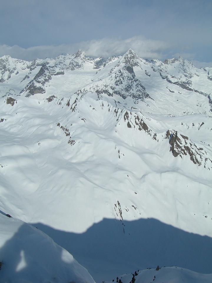 Looking towards Chamonix from Super St Bernard, near Verbier.