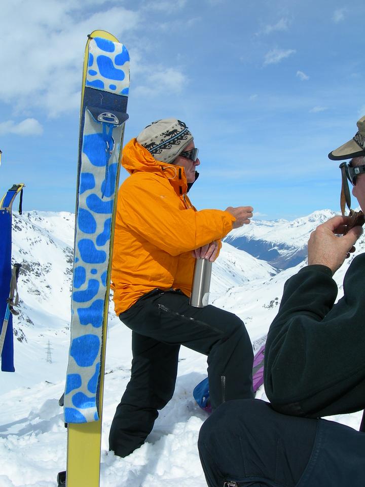 70 or 80 year old ski tourer, just out skiin' around near St Bernard Pass.