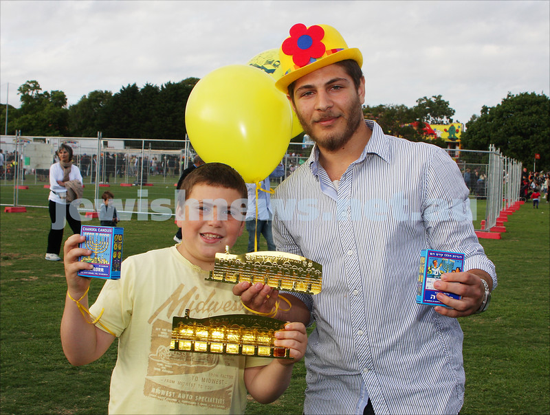 Chanukah in Caulfield Park 2009. Moshie Rosenbaum (left), Reuven Weiss. photo: Peter Haskin