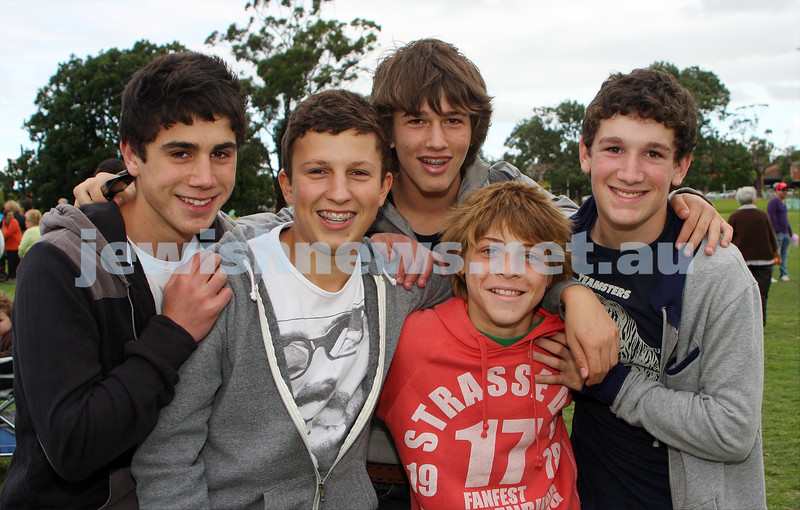 Chanukah in Caulfield Park 2009. From left: Nick Lewis, Dean Rotenberg, Josh Sacks, Bradley Blumenthal, Olly Hoffman. photo: Peter Haskin