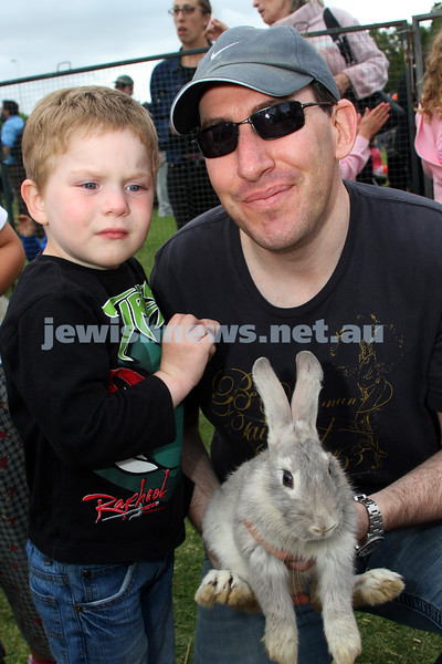Chanukah in Caulfield Park 2009. Lior and Malcolm Noriskin. photo: Peter Haskin